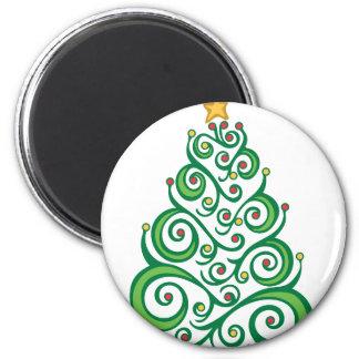 Xmas Swirl Tree 6 Cm Round Magnet