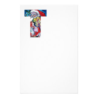 XMAS T LETTER /SANTA  CLAUS WITH VIOLIN MONOGRAM PERSONALIZED STATIONERY