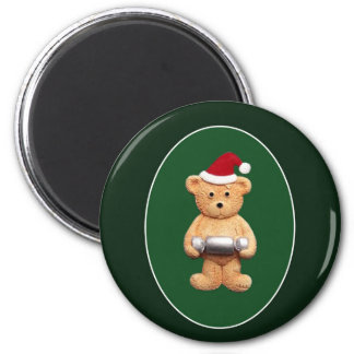 Xmas Ted With 6 Cm Round Magnet