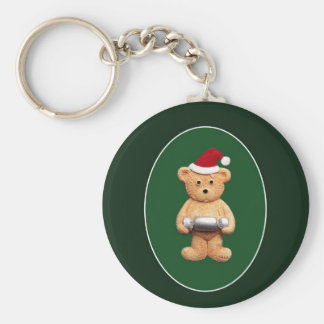 Xmas Ted With Basic Round Button Key Ring