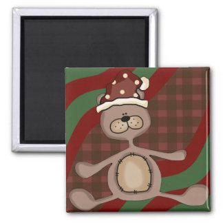 Xmas Teddy Bear Square Magnet