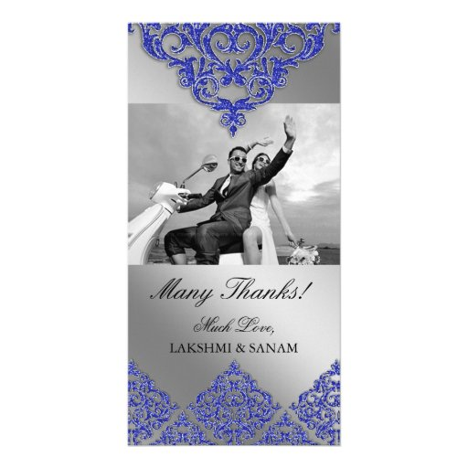 Xmas Thank You Photocard Indian Damask Blue Photo Greeting Card