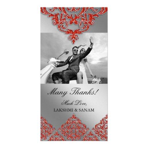 Xmas Thank You Photocard Indian Damask Orange Customized Photo Card