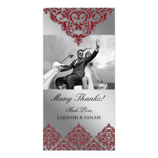 Xmas Thank You Photocard Indian Damask Red Photo Card Template