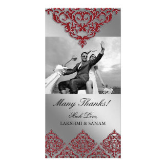 Xmas Thank You Photocard Indian Damask Red Photo Card