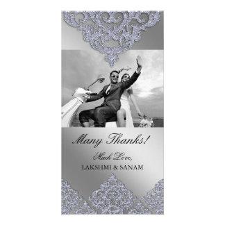 Xmas Thank You Photocard Indian Damask Silver Custom Photo Card