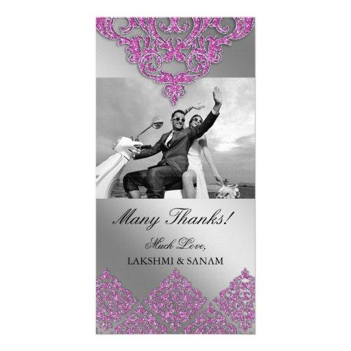 Xmas Thank You Photocard Indian Damask Silver Pink Photo Card