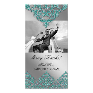 Xmas Thank You Photocard Indian Damask Silver Teal Photo Card