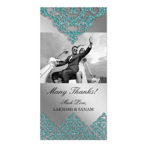 Xmas Thank You Photocard Indian Damask Silver Teal Photo Card