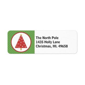 Xmas Tree Holiday Return Address Labels