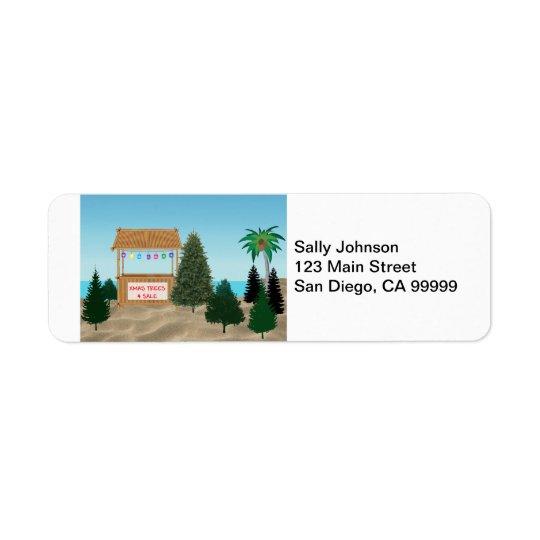 Xmas Tree Lot at the Beach Return Address Label