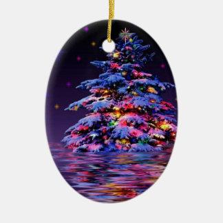 Xmas tree rainbow glitter ceramic oval decoration