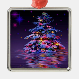 Xmas tree rainbow glitter Silver-Colored square decoration