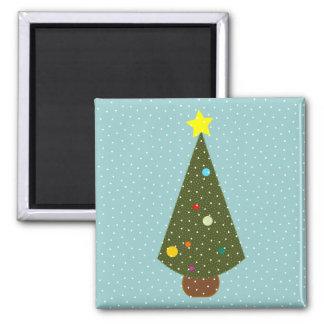xmas tree snow fridge magnet