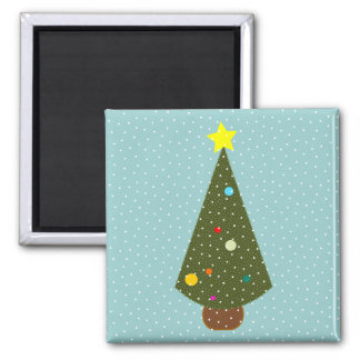 xmas tree snow square magnet