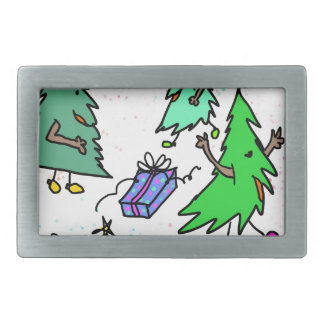 Xmas trees getting ready for Christmas Rectangular Belt Buckle