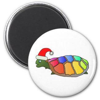 xmas turtle 6 cm round magnet