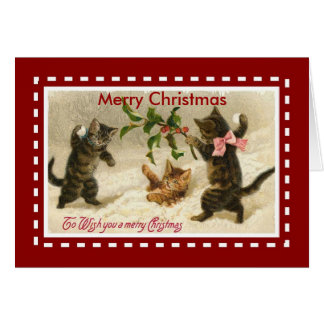 Xmas Vintage Card Merry Christmas Cats Kittens