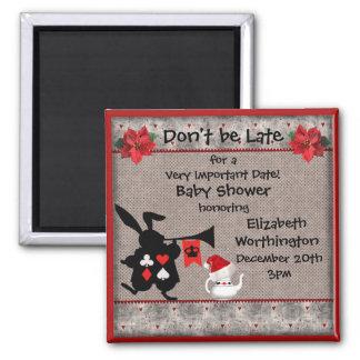 Xmas Wonderland Rabbit Baby Shower Save the Date Square Magnet