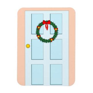 xmas wreath and blue door rectangular magnets