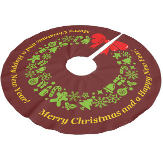 Xmas Wreath composed of modern Christmas motifs, Brushed Polyester Tree Skirt