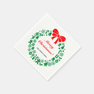 Xmas Wreath composed of modern Christmas motifs, Disposable Napkins