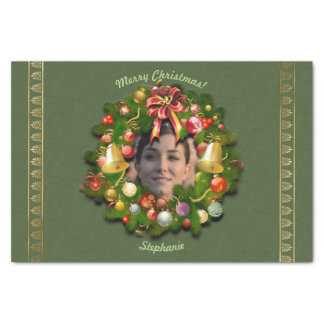 Xmas Wreath Customized With Your Picture Inside Tissue Paper