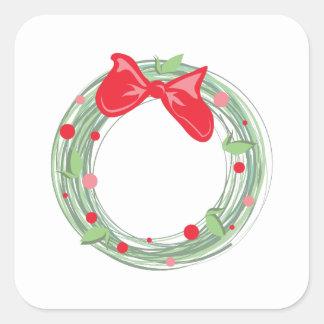 Xmas Wreath Square Sticker