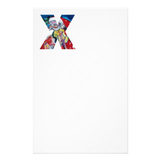 XMAS X LETTER /SANTA  CLAUS WITH VIOLIN MONOGRAM PERSONALIZED STATIONERY