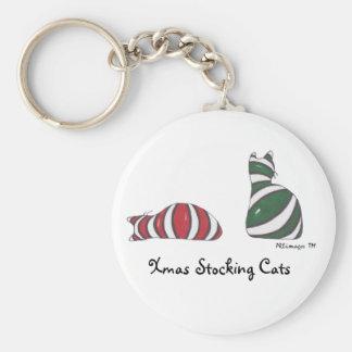XmasStockingCats, Xmas Stocking Cats Basic Round Button Key Ring