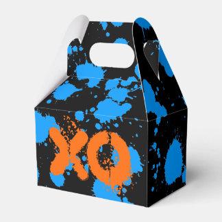 XO Graffiti Art Black and Blue 90s Splatter Paint Favour Box