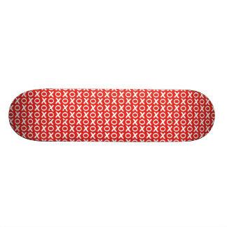 XO Kisses and Hugs Pattern Illustration red white 20.6 Cm Skateboard Deck