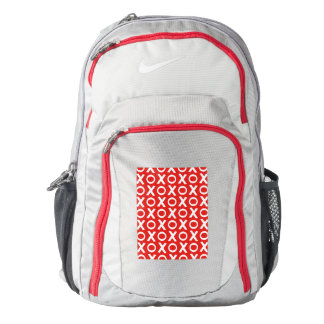 XO Kisses and Hugs Pattern Illustration red white Backpack