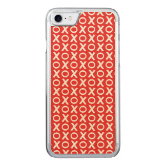 XO Kisses and Hugs Pattern Illustration red white Carved iPhone 8/7 Case