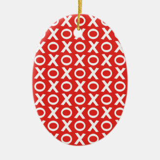 XO Kisses and Hugs Pattern Illustration red white Ceramic Oval Decoration