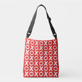 XO Kisses and Hugs Pattern Illustration red white Crossbody Bag