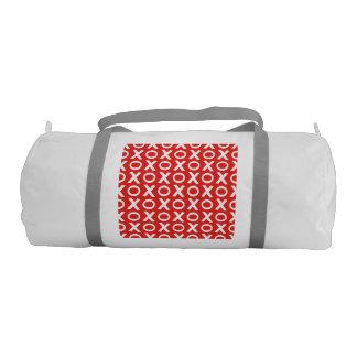 XO Kisses and Hugs Pattern Illustration red white Gym Bag