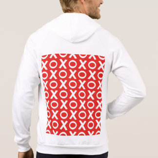 XO Kisses and Hugs Pattern Illustration red white Hoodie
