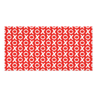 XO Kisses and Hugs Pattern Illustration red white Photo Greeting Card