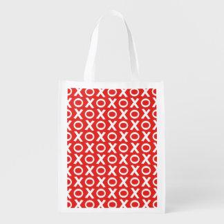 XO Kisses and Hugs Pattern Illustration red white Reusable Grocery Bag