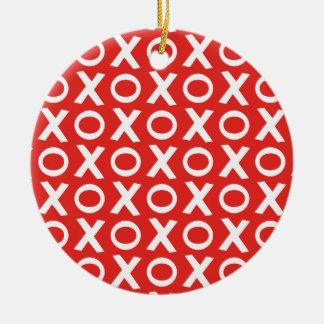 XO Kisses and Hugs Pattern Illustration red white Round Ceramic Decoration