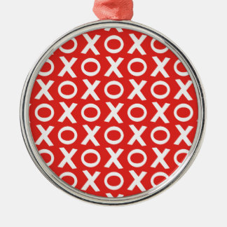 XO Kisses and Hugs Pattern Illustration red white Silver-Colored Round Decoration