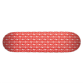 XO Kisses and Hugs Pattern Illustration red white Skate Deck