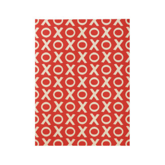 XO Kisses and Hugs Pattern Illustration red white Wood Poster