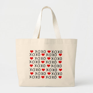 XO Valentines day pattern Large Tote Bag