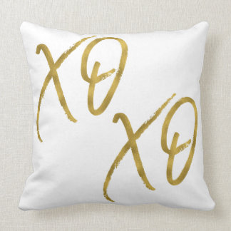 XO XO Hugs and Kisses Love Faux Gold Foil Pillow