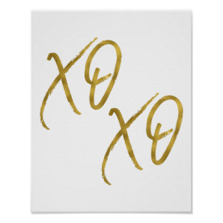 XO XO Hugs and Kisses Love Faux Gold Foil Poster