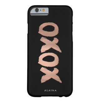 XOXO Black & Faux Rose Gold Brushstroke Barely There iPhone 6 Case