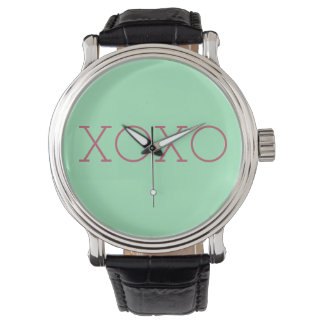 XOXO Black Leather Strap Watch