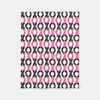 XOXO | Black & Pink Pattern Fleece Blanket